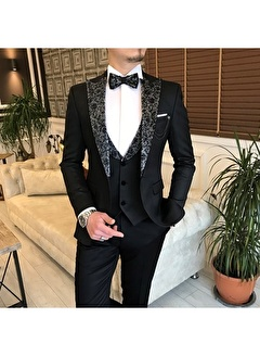 Terzi Adem 3466 İtalyan Kesim Ceket Yelek Pantolon Damatlık Set Siyah T4856